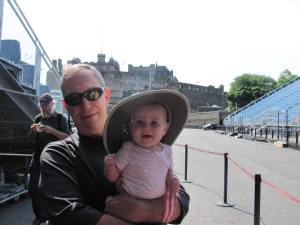 Keela and her papa in front of Edinburgh Castle